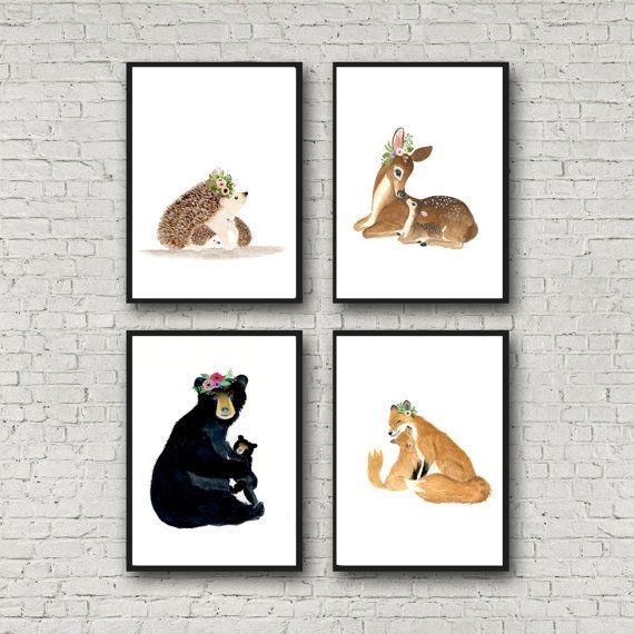 I Love You Little One Print Set Animal Paintings Fox By Zuhalkanar