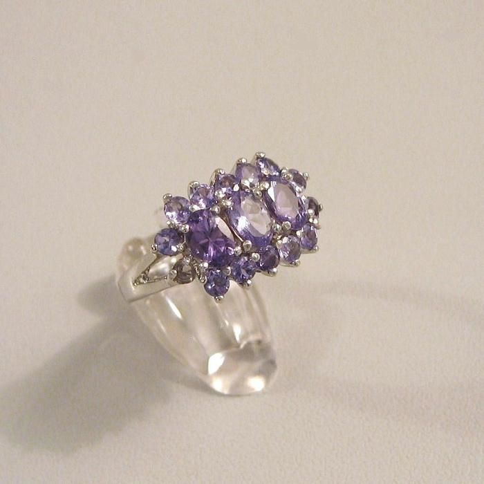 Catawiki online auction house: Cluster ring with 17 Tanzanite stones