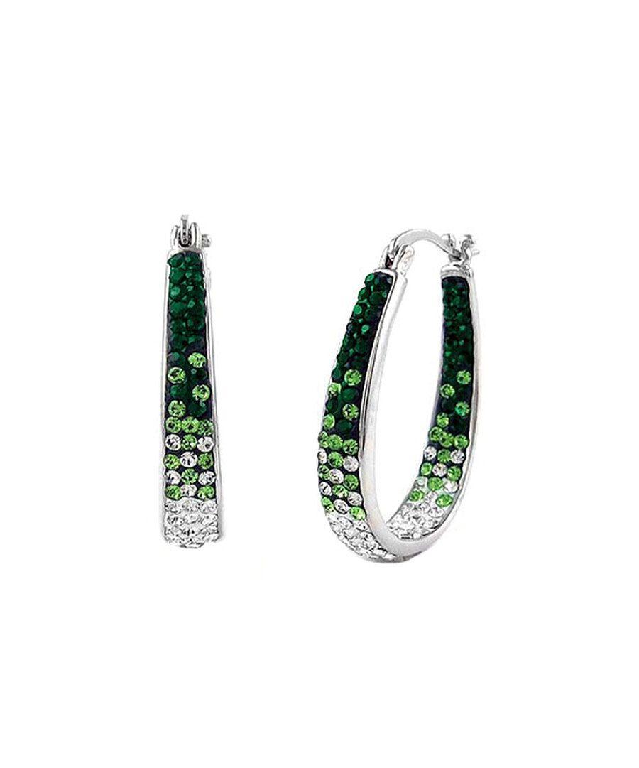 Look at this Yeidid Green Swarovski® Crystal & Silvertone Hoop Earrings on #zulily today!