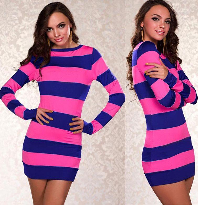 Fashion Gorgeous Blkgreenhot Pinkpurple Black White Stripe Mini