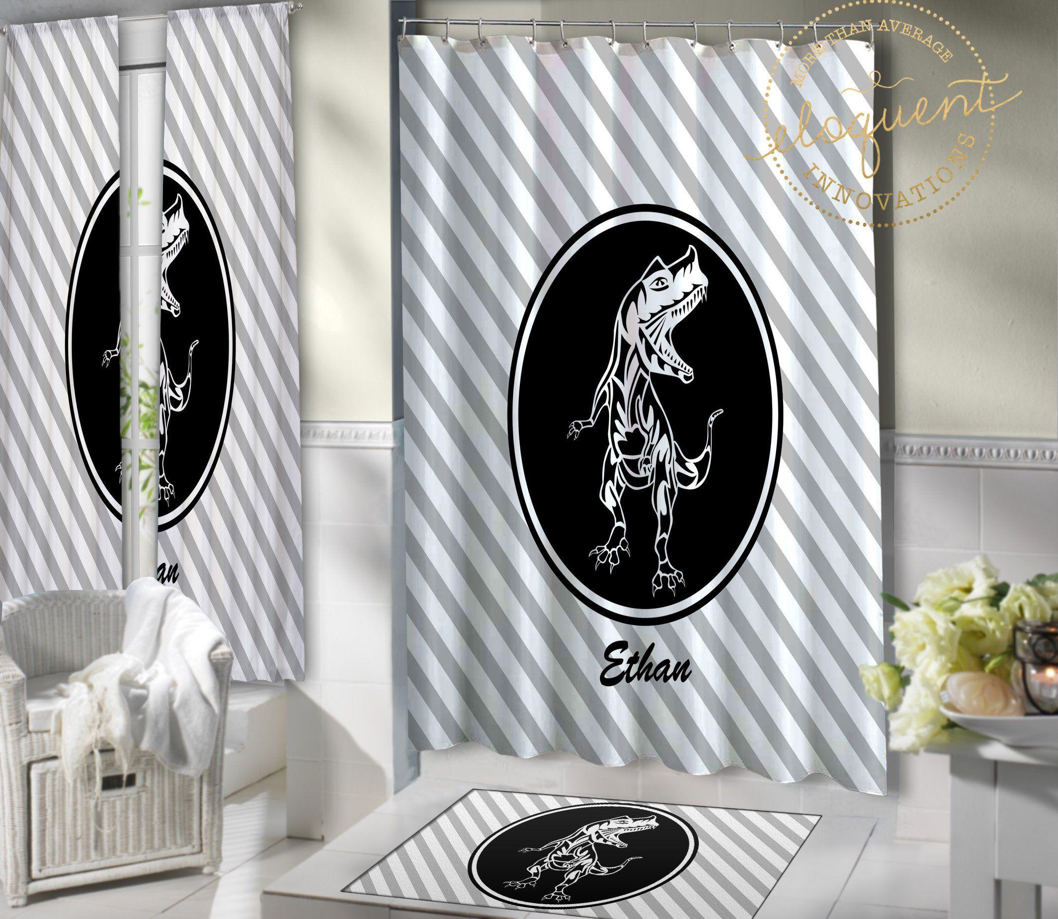 Dinosaur Shower Curtain Fabric T Rex Themed Bathroom