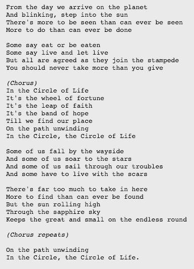 Lyrics In The Circle Of Life By Elton John Elton John Lyrics Life Lyrics Lyric Quotes