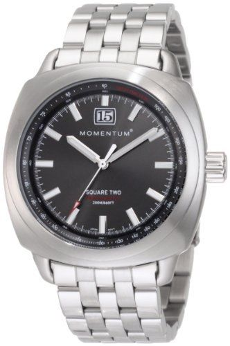 Momentum Men's 1M-SP68G0 Square II Stainless-Steel Bracelet Watch Momentum. $245.00. Quartz analogue with big-date. Case diameter: 43.86 mm. Water-resistant to 660 feet (200 M). Heat-tempered, anti-glare mineral crystal. Brushed stainless steel
