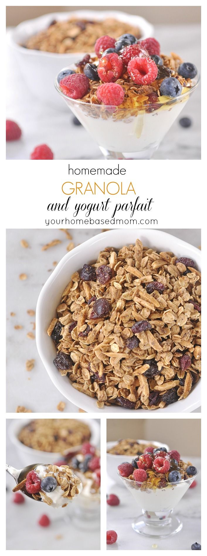 Homemade Granola Recipe and Yogurt Parfaits for breakfast!  This easy to follow recipe makes a delicious snack or put it on top of some yogurt with fruit and you've got breakfast!