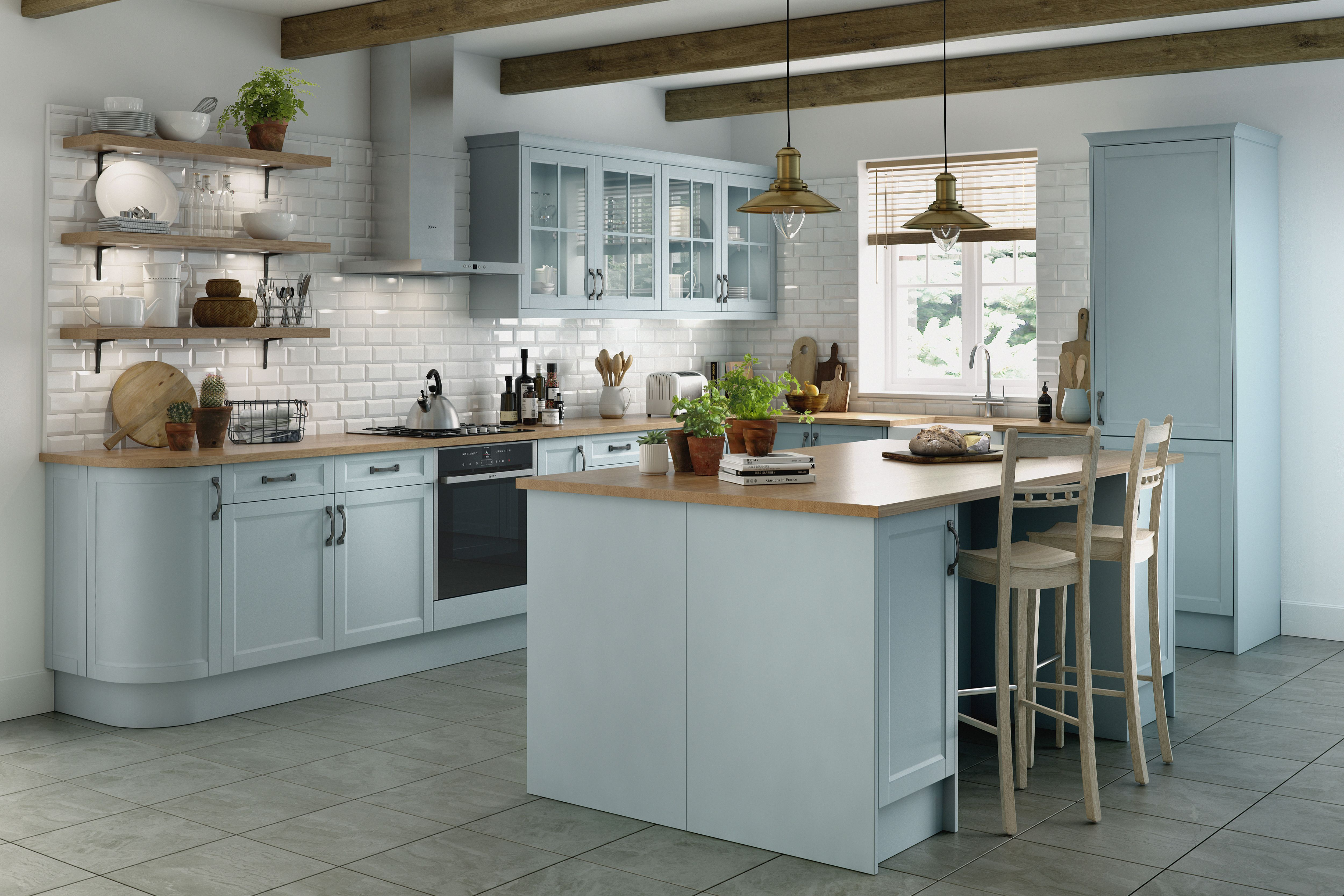 Traditional farmhouse kitchen with classic matt blue doors and ...