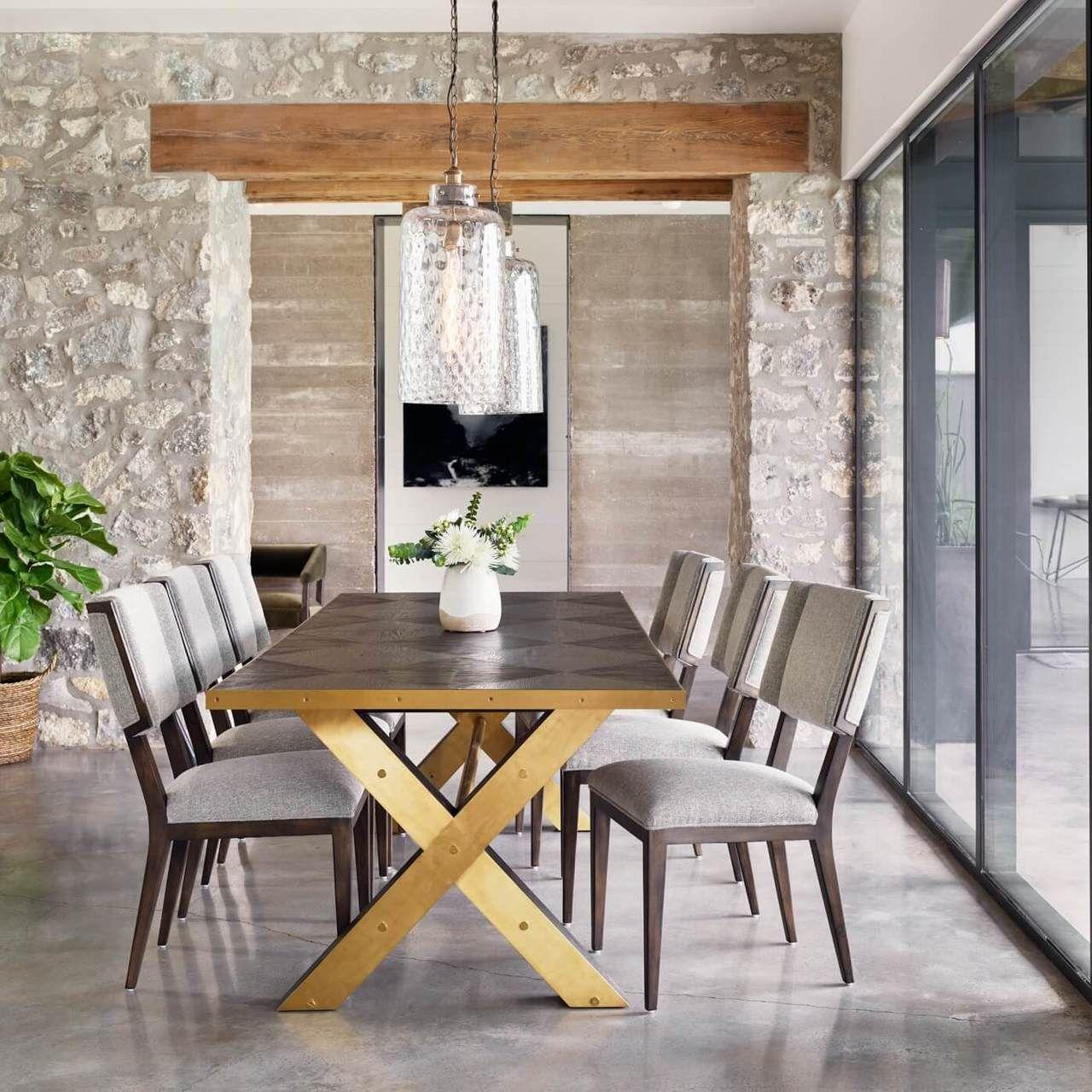 Burton Polished Brass X Base Oak Wood Dining Table 120 Wood