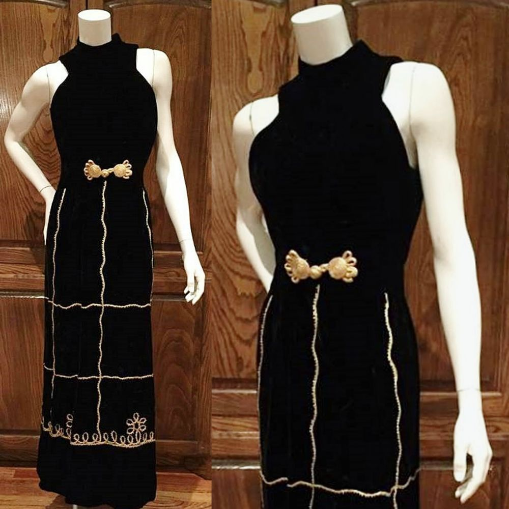 Vintage us futura couture of new york black velvet and gold