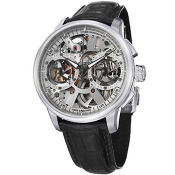 Maurice Lacroix 45mm Masterpiece Swiss Made Mechanical Chronograph Skeleton Leather Watch $11,000 Shophq