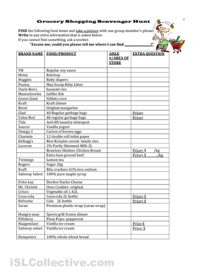 Math Worksheets supermarket math worksheets : Supermarket Scavenger Hunt | Girl Scout Ideas | Pinterest ...
