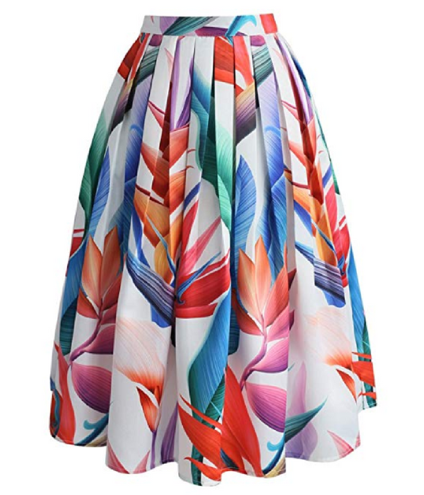b05306bdb9 Chicwish Women's Floral strelitzia Flower Printed High Waist A-Line Midi  Pleated Skirt. #skirt #floral #flower #print #highwaist #midiskirt #fashion  ...