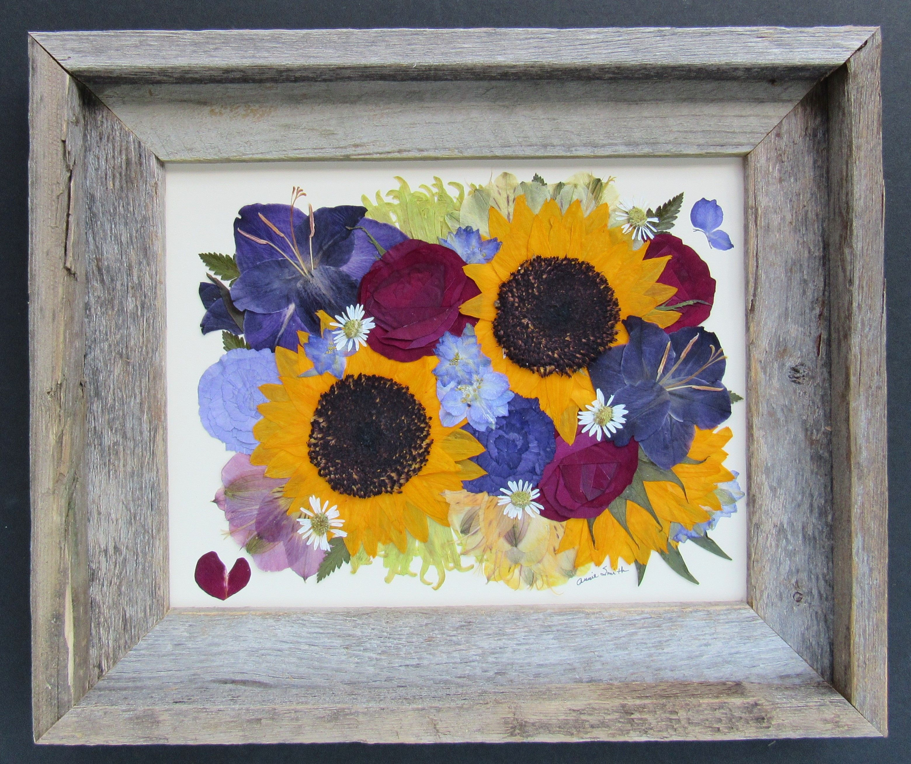 Pressed Wedding Flowers: Pressed Flower Art Made From Funeral Flowers. Pressed