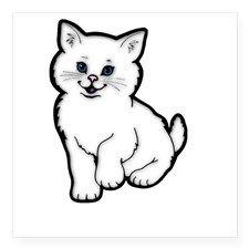 Adorable White Kitten Square Sticker 3