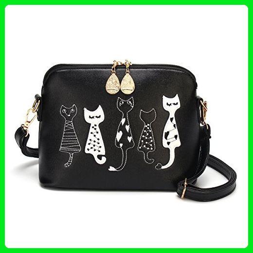 5d933ae2e7 OURBAG PU Leather Cute Cat Handbag Mini Crossbody Shoulder Bag Mobile Phone Bag  Purse Black Medium - Shoulder bags ( Amazon Partner-Link)