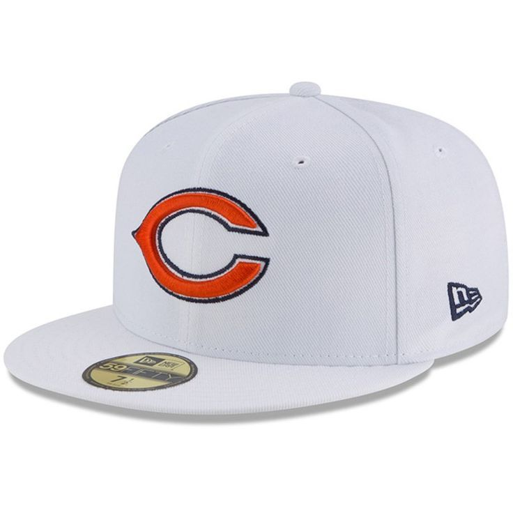 Chicago Bears New Era Primary Logo Omaha 59FIFTY Fitted Hat - White ... b6fe04298246