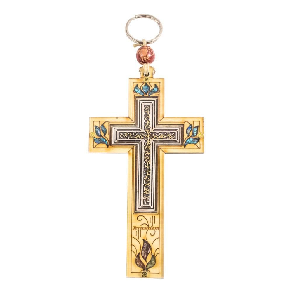 Cross Blessing with With Metal and Stone From Jerusalem