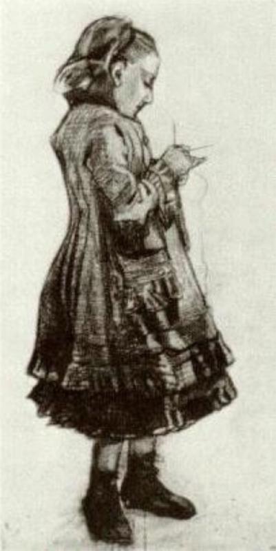 Girl Standing, Knitting - Vincent van Gogh, 1882.