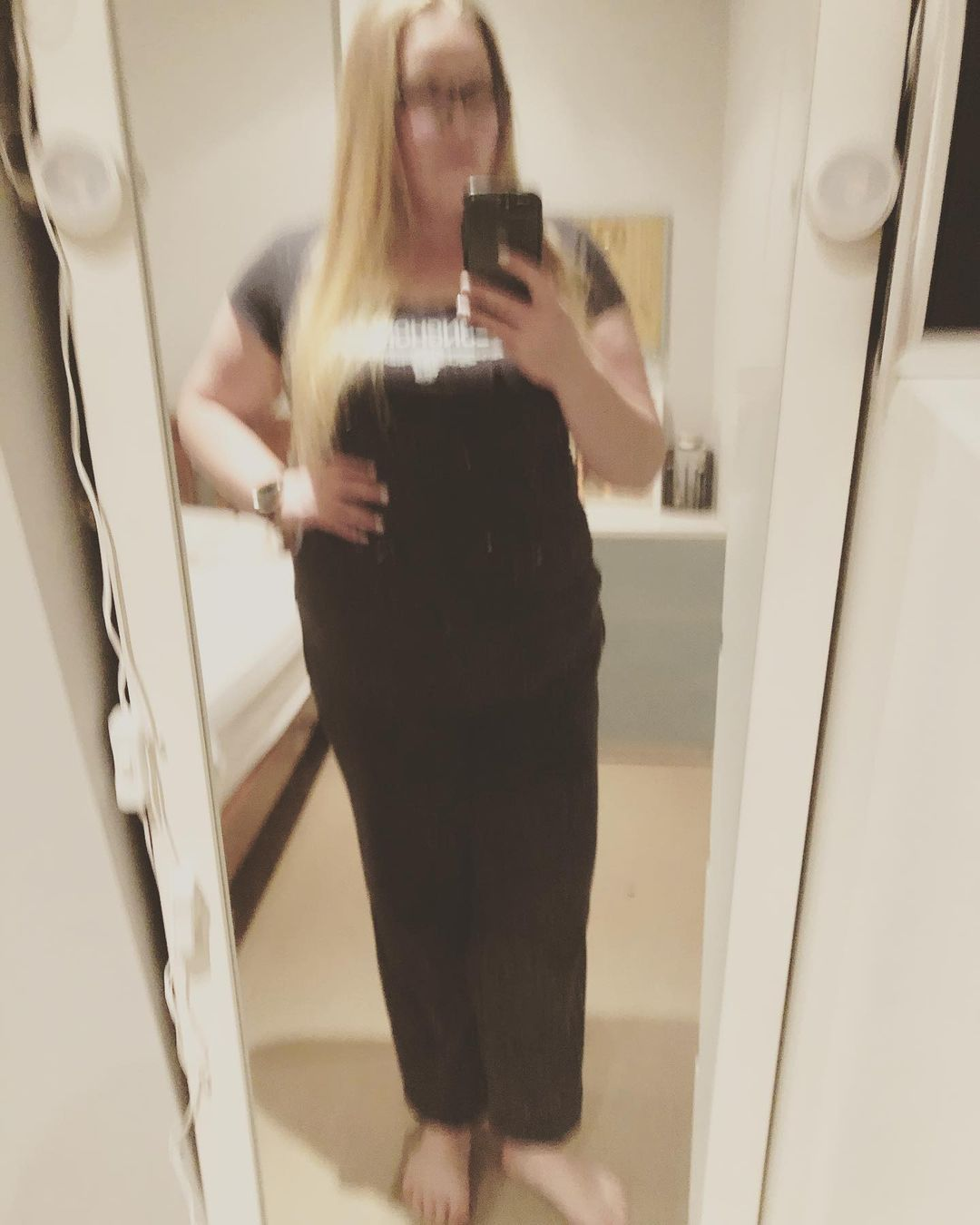A blurry shot, but a happy (and exhausted) feel. Getting myself back on track, doing extra fitness, and looking after tiny kittens and helped my waistline quite a bit. Body is tired, so an early night for me. But I'm happy! #progress #happy #mirrorselfie #fitness #changes #fitspo #fitnessmotivation #tone #weightloss #muscle #strong #waistline #selfie #mirrorselfie #workingout #backontrack #yay #fitfam