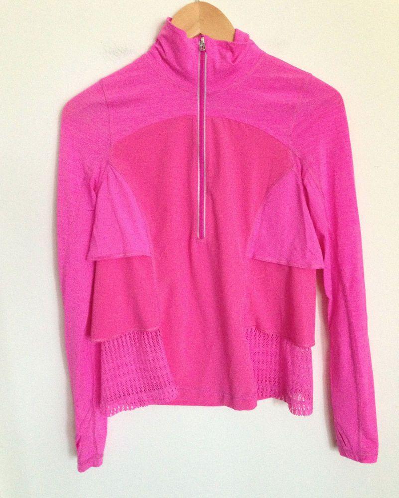 Lululemon Pink Jacket Ruffle Sun Runner Hybrid Pullover Half Zip ...