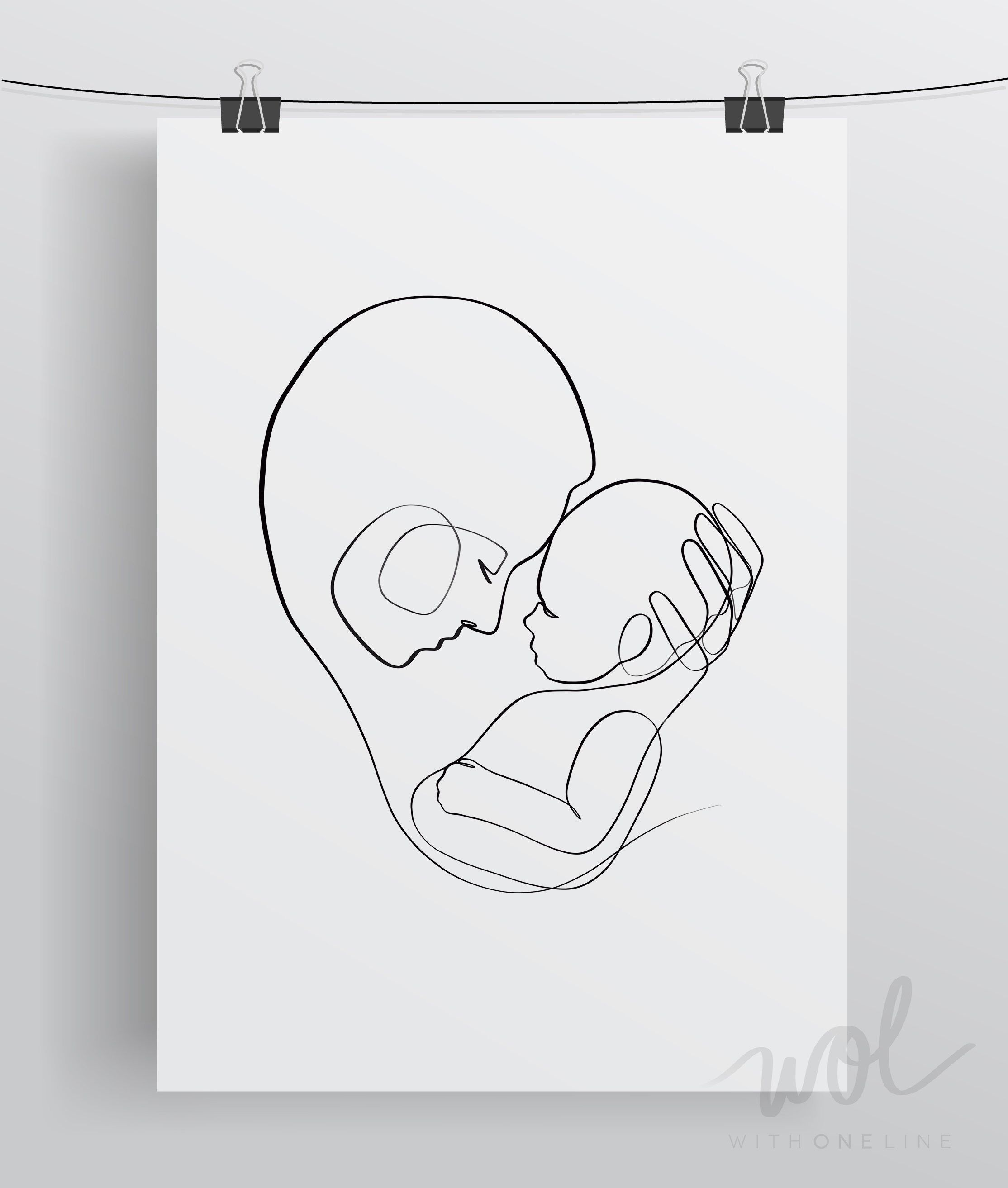 Mom and Baby Line Art, Printable Line Art, Mother and Child Wall ...