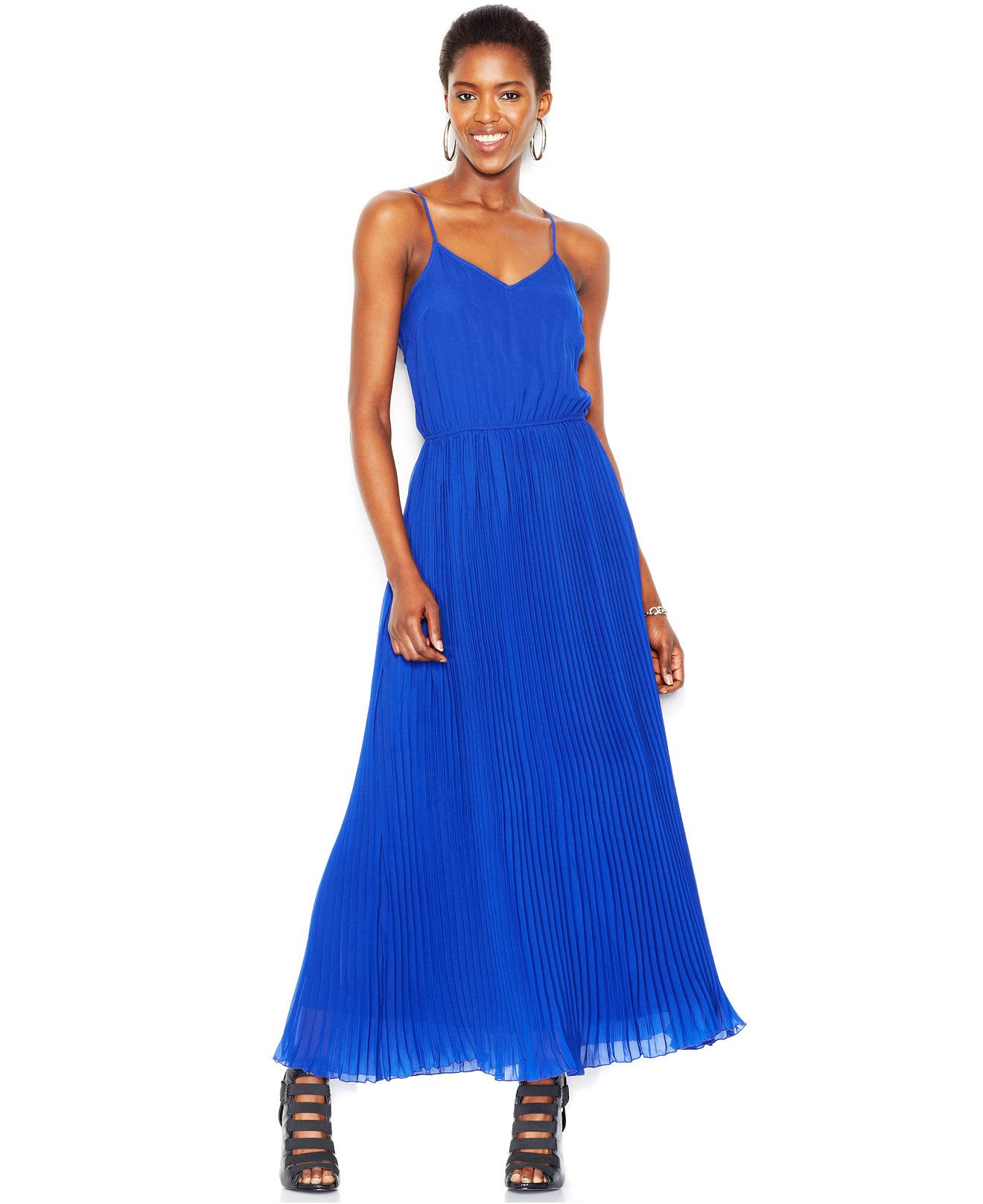 Bar iii racerback pleated maxi dress dresses women