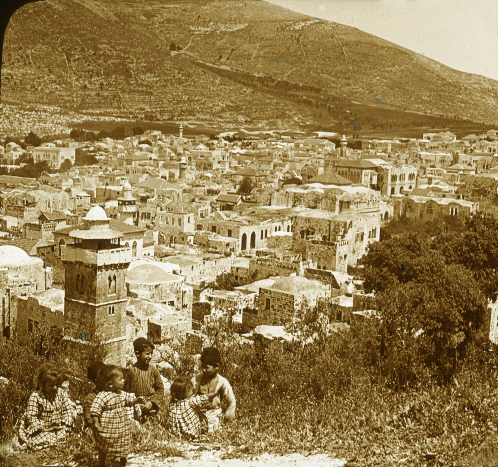 Nablus-نابلس: NABLUS - Late 19th, early 20th c. 40 - Nablus and Mount Ebal, 1880s