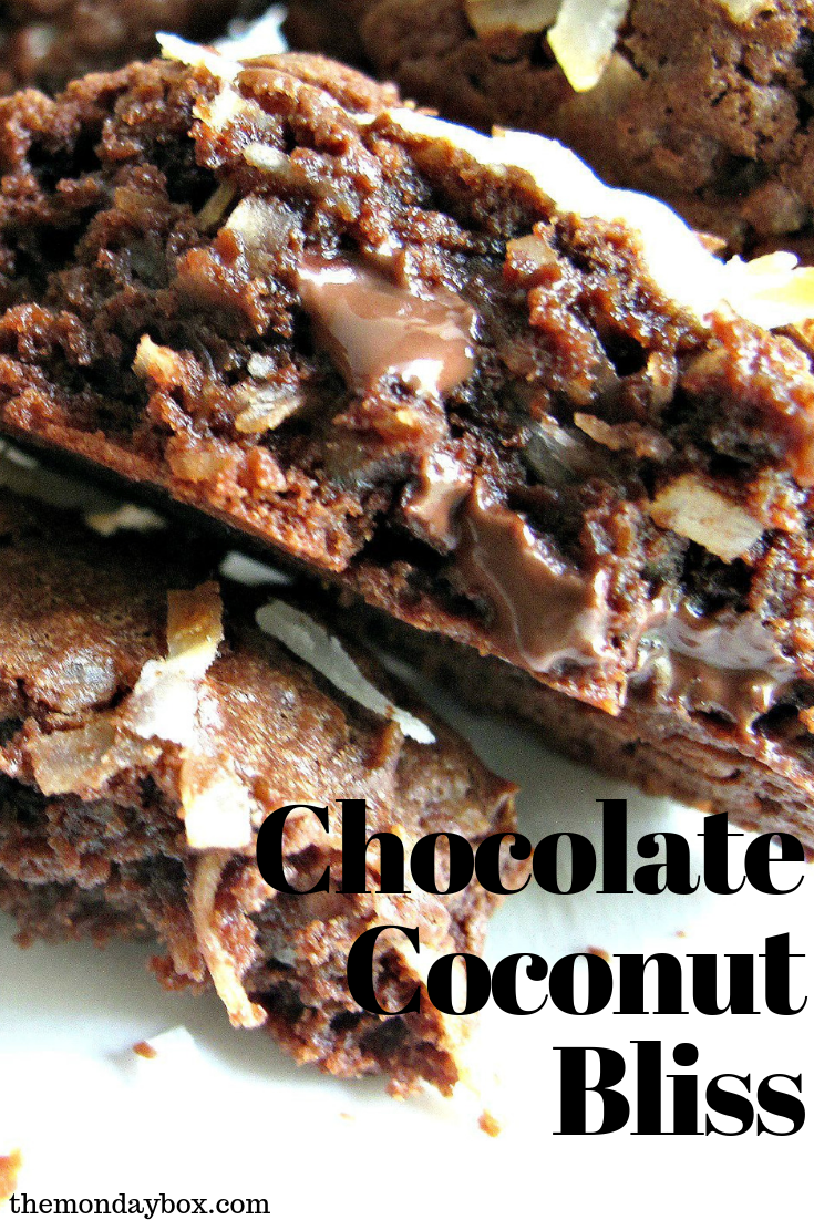 Chocolate Coconut Bliss Cookies truly are bliss!  These chewy, fudgy cookies are a Mounds candy bar transformed into cookies! #themondaybox #cookies #chocolate #coconut #moundsbar