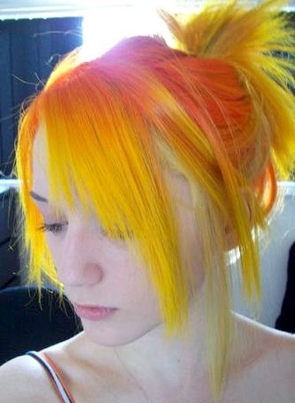 Orange Hair With Yellow Ends Beautiful Hairstyle Full Dose Multi Colored Hair Hair Styles Multicolored Hair