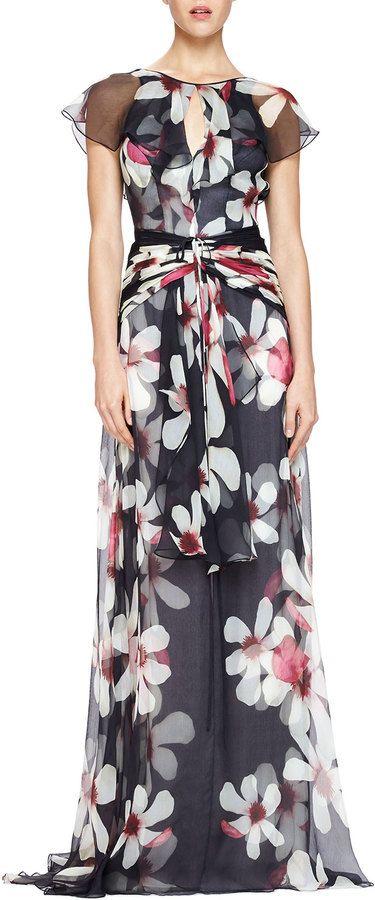 Carolina Herrera Magnolia-Print Flutter-Sleeve Gown