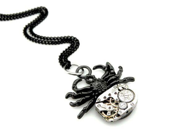 Clockpunk Spider Black Widow Pendant clockwork by ...