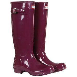 Hunter Women's Original Tall Gloss Wellies - Dark Ruby Womens Footwear - FREE UK Delivery