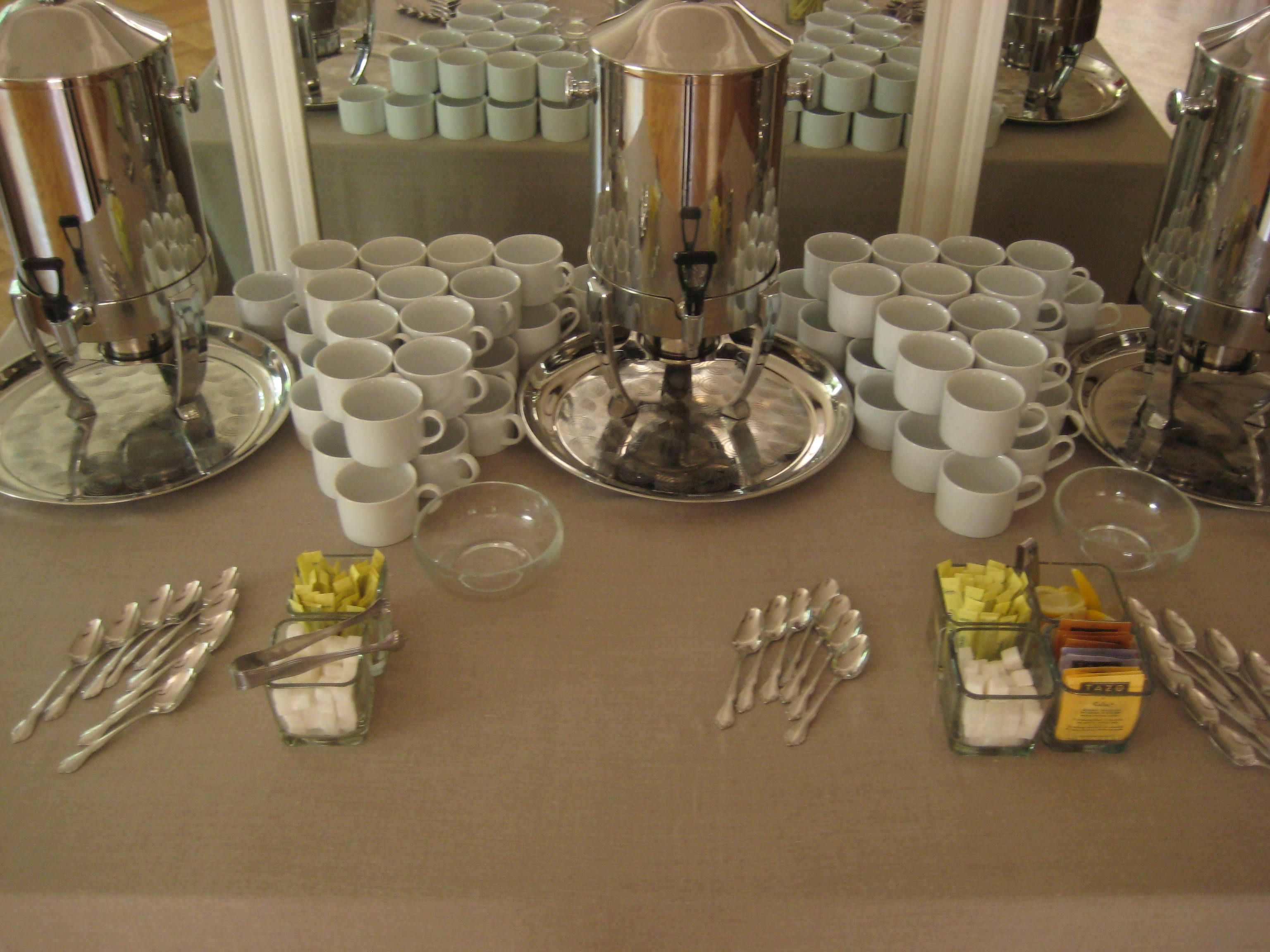 Coffee station setup on khaki linen rented white rim cups for How to set up a coffee station