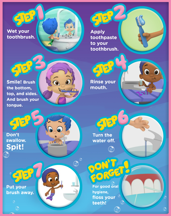 Bubble Guppies Tooth Care Poster Dental Care For Kids Dental Kids Brush Teeth Kids