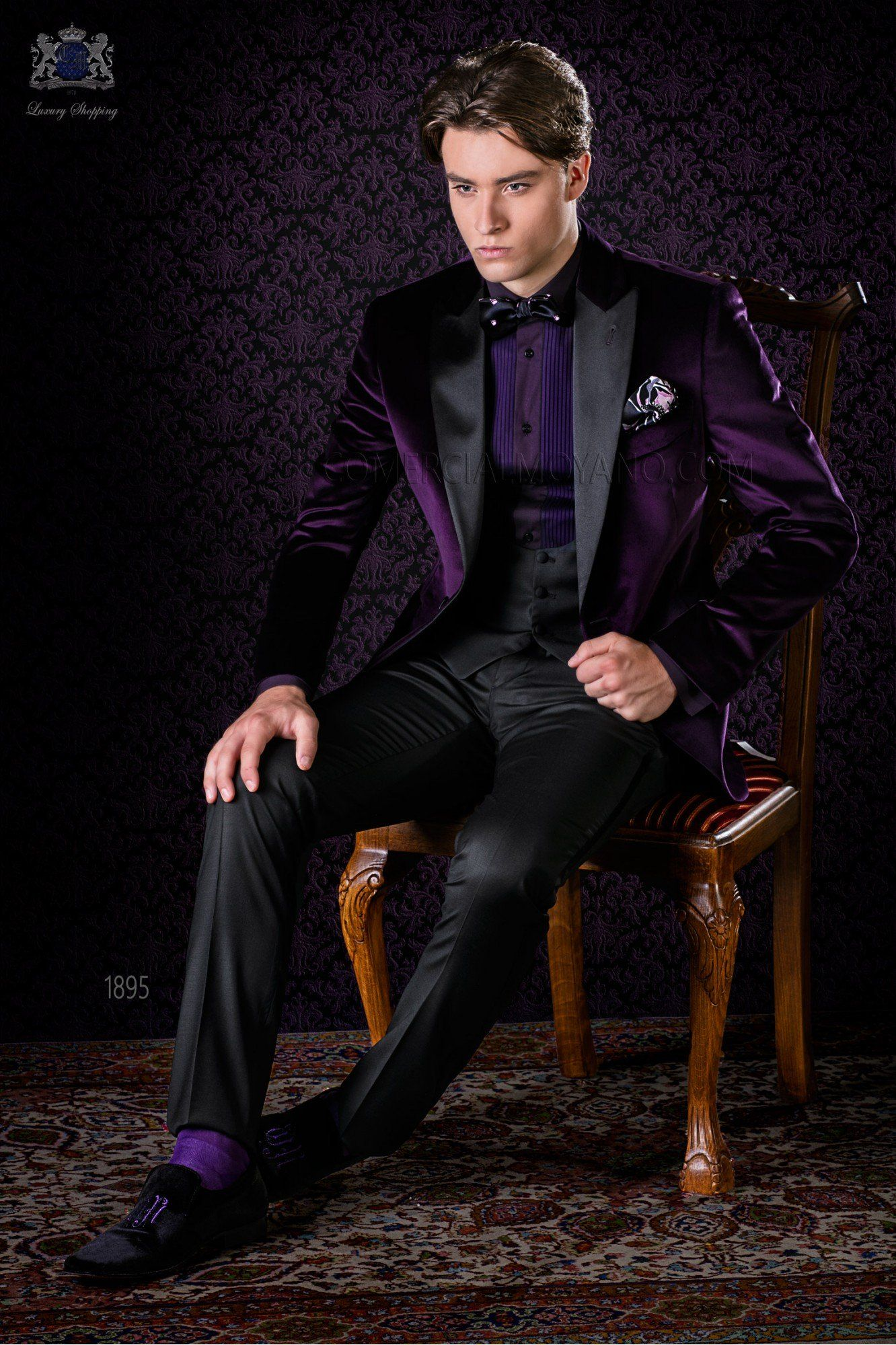 Italian Bespoke Purple Velvet Tuxedo With Satin Lapels And Combined A Black Trousers