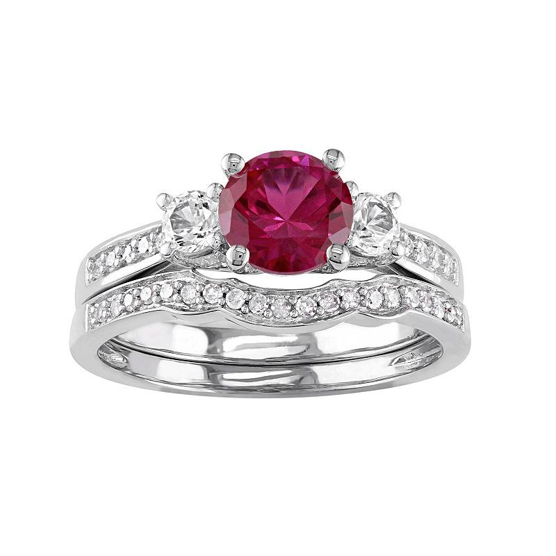 10k White Gold Lab-Created Ruby, White Sapphire & 1/6 Carat T.W. Diamond Engagement Ring Set, Red