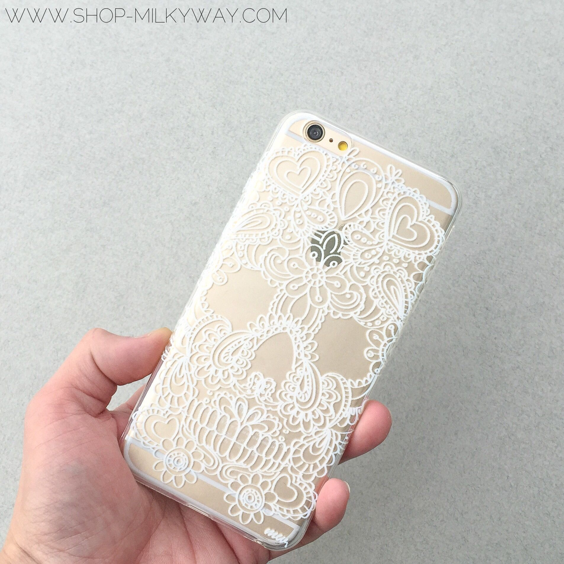 "Clear Plastic Case Cover for iPhone 6Plus (5.5"") Henna Floral Skull"