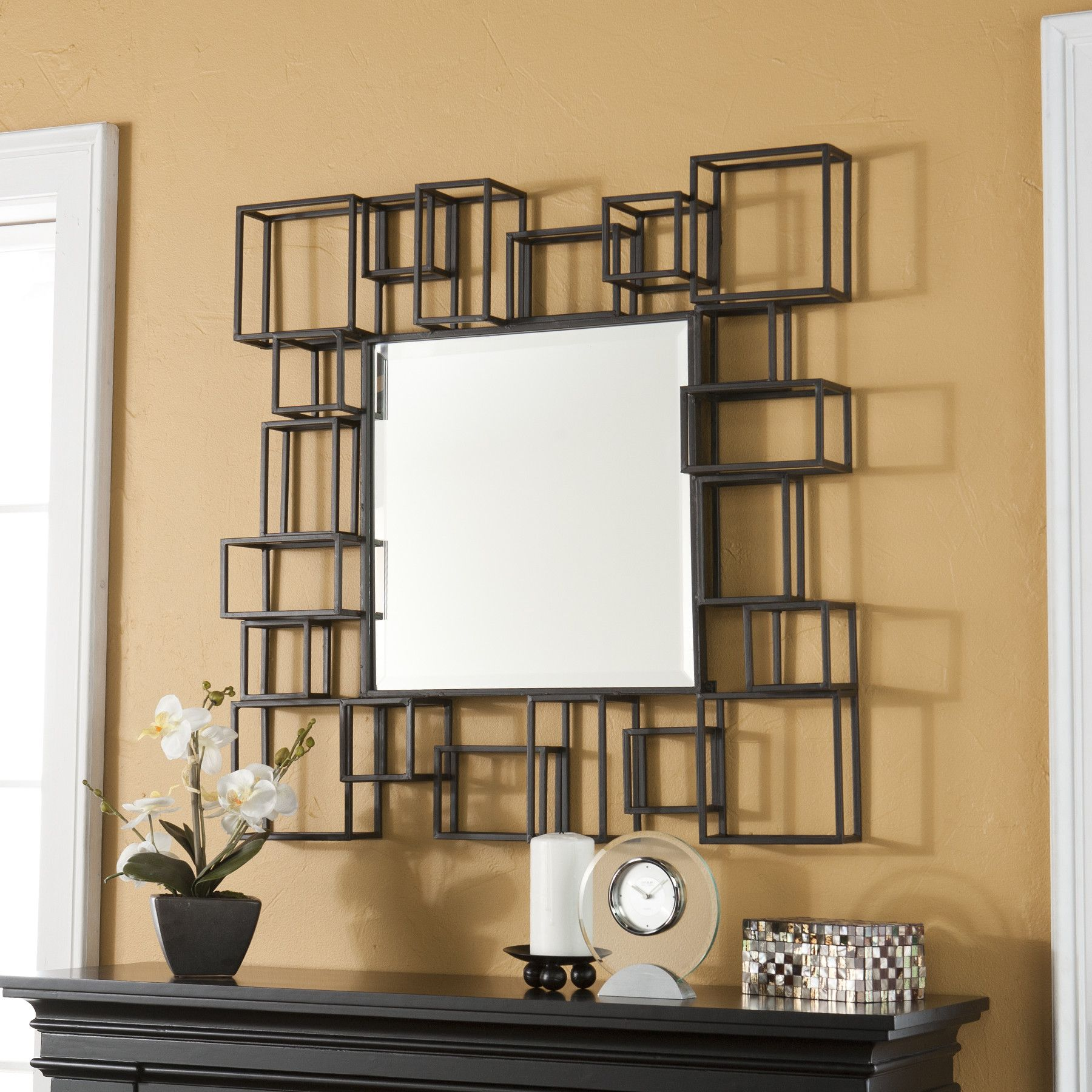 Wildon Home Marino Decorative Wall Mirror In Espresso Wayfair