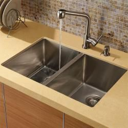 Vigo Double Bowl Undermount Stainless Steel Kitchen Sink