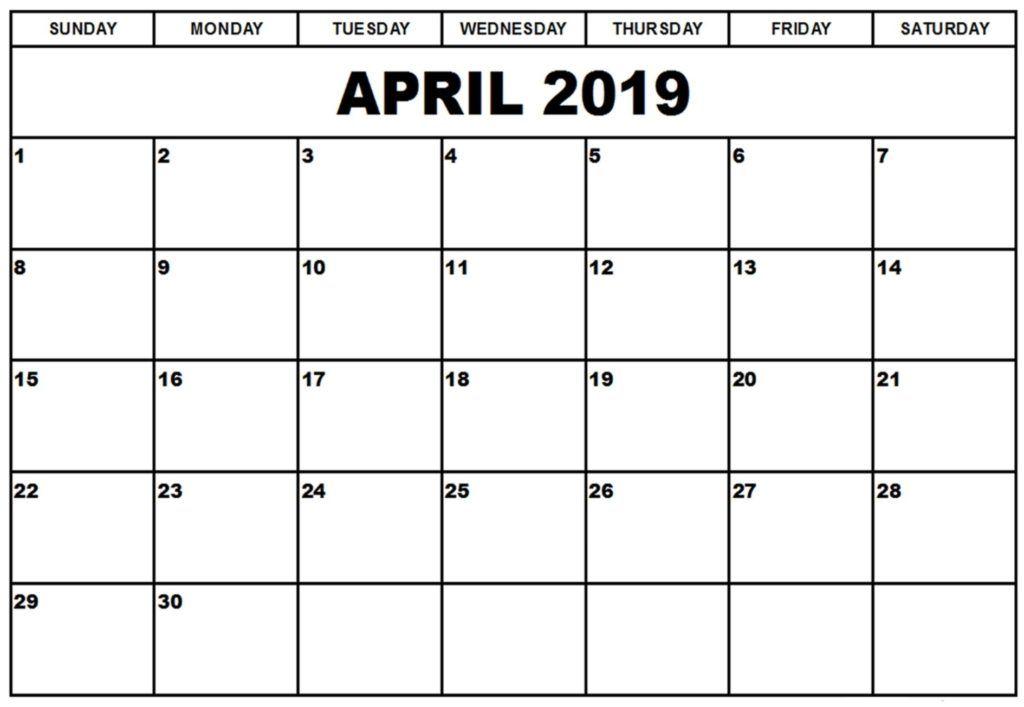 Free Printable April 2019 Calendar Full Page