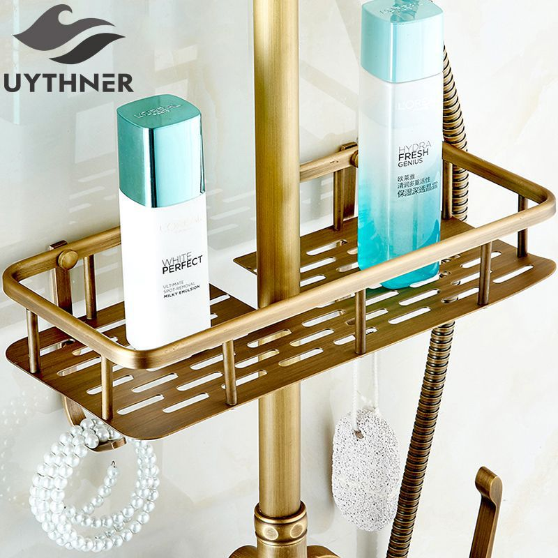 Uythner Full copper antique shower racks with hooks shower baskets ...