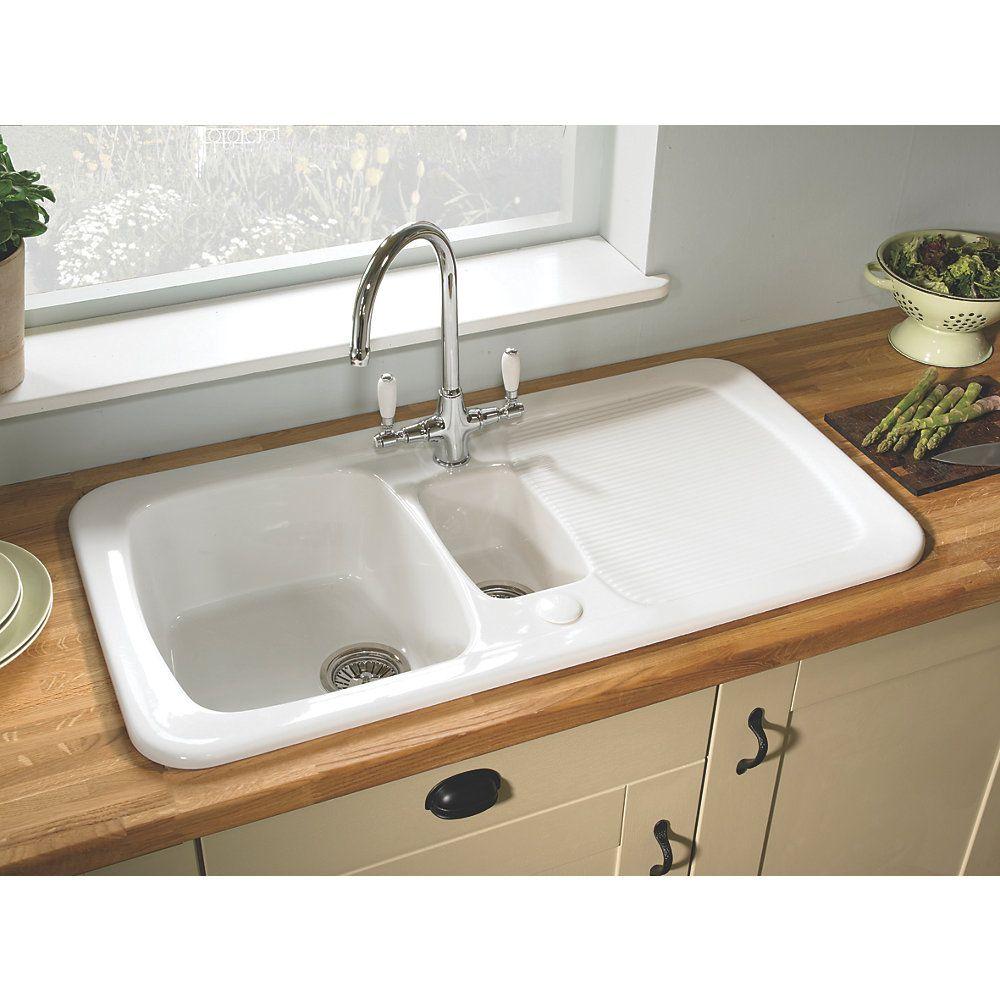 Astracast Aquitaine Ceramic 1½-Bowl Square Inset Sink w/Reversible ...