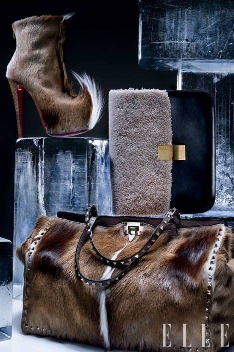 Goatskin and leather boot, Christian Louboutin. Studded antelope tote with leather trim, Valentino Garavani