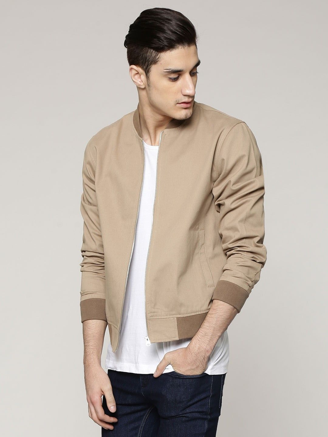 Buy NEW LOOK Cotton Twill Bomber Jacket For Men - Men's Brown ...