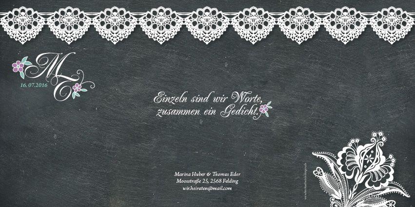 Vintage Einladungskarten Zur Hochzeit Mit Spitze Und Tafel Hintergrund