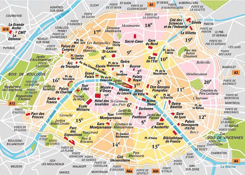 Map Of Paris 20 Boroughs Arrondissements Districts Paris