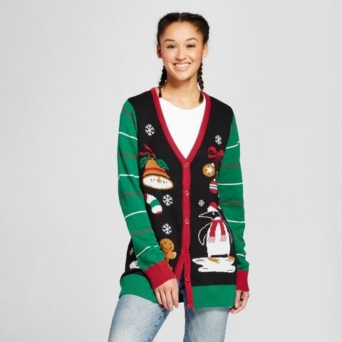 135208b9759927 Ugly Christmas Sweater Women's Lightup Holiday Cardigan - Ugly Christmas  Sweater Black
