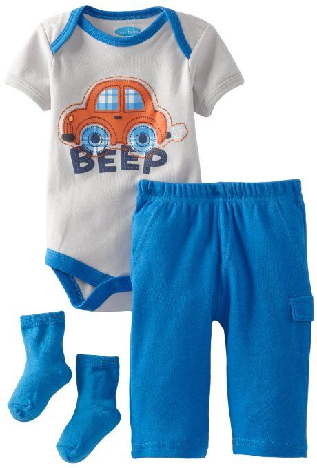 ec40923b6 Amazon.com  BON BEBE Baby-Boys Newborn Beep 3 Piece Pant Set ...