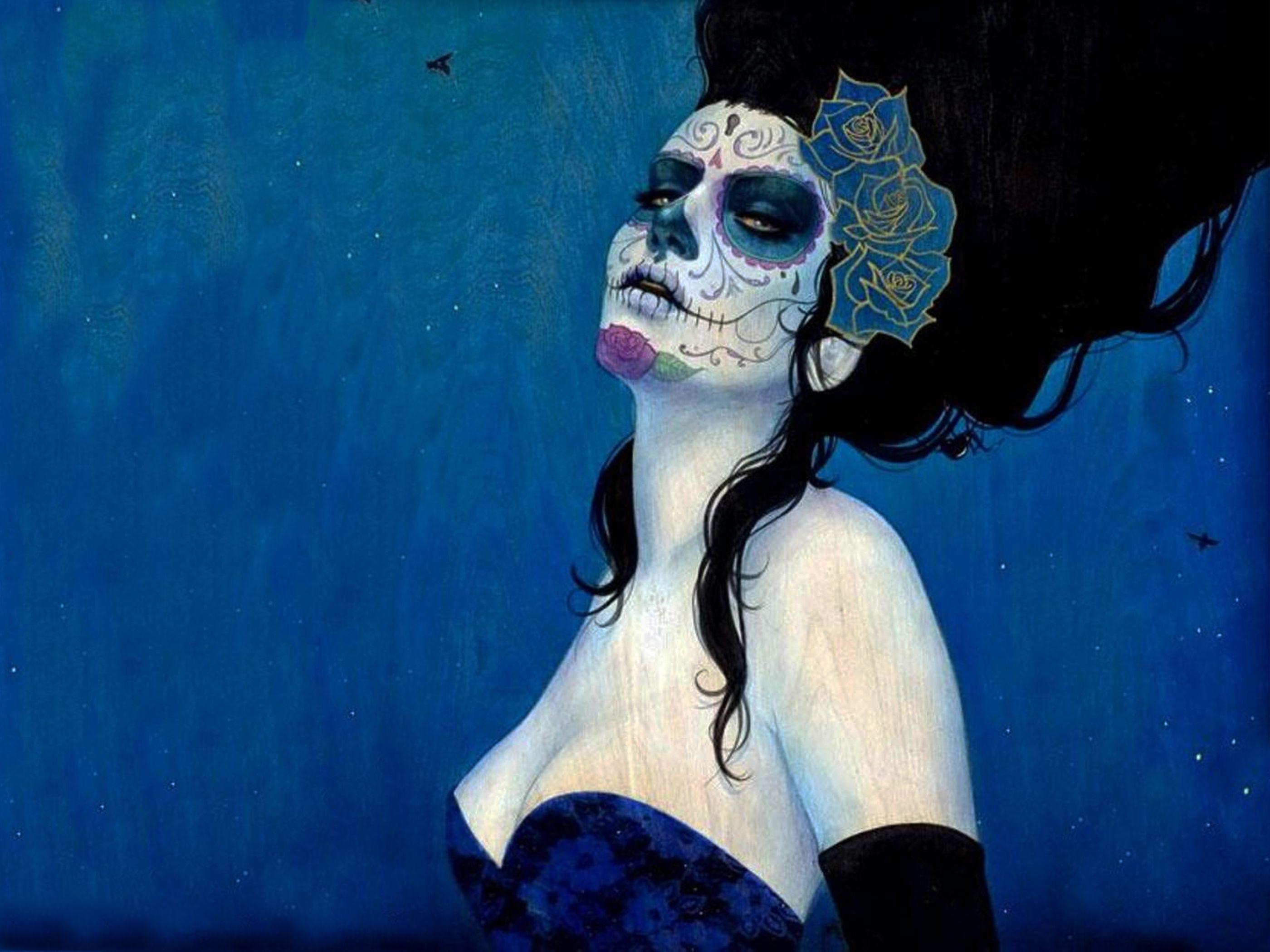 sugar skull makeup wallpaper - photo #12