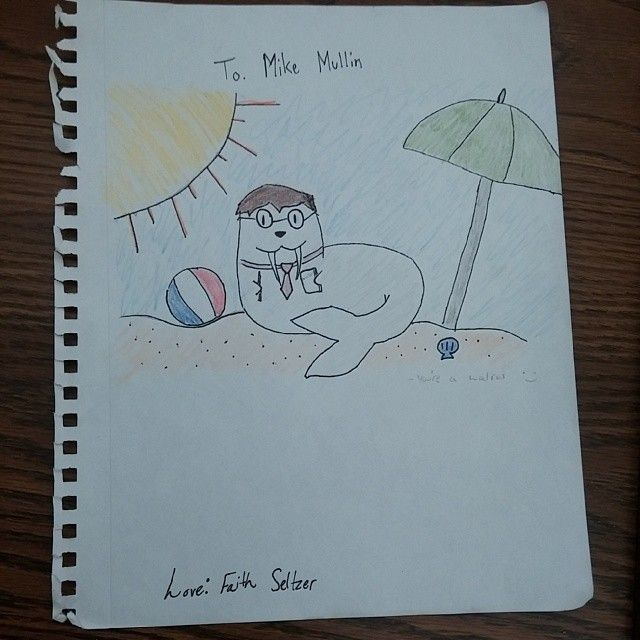 A teen at the Alexandria-Monroe Public Library drew me (author Mike Mullin) as a walrus. Why? I have no idea.