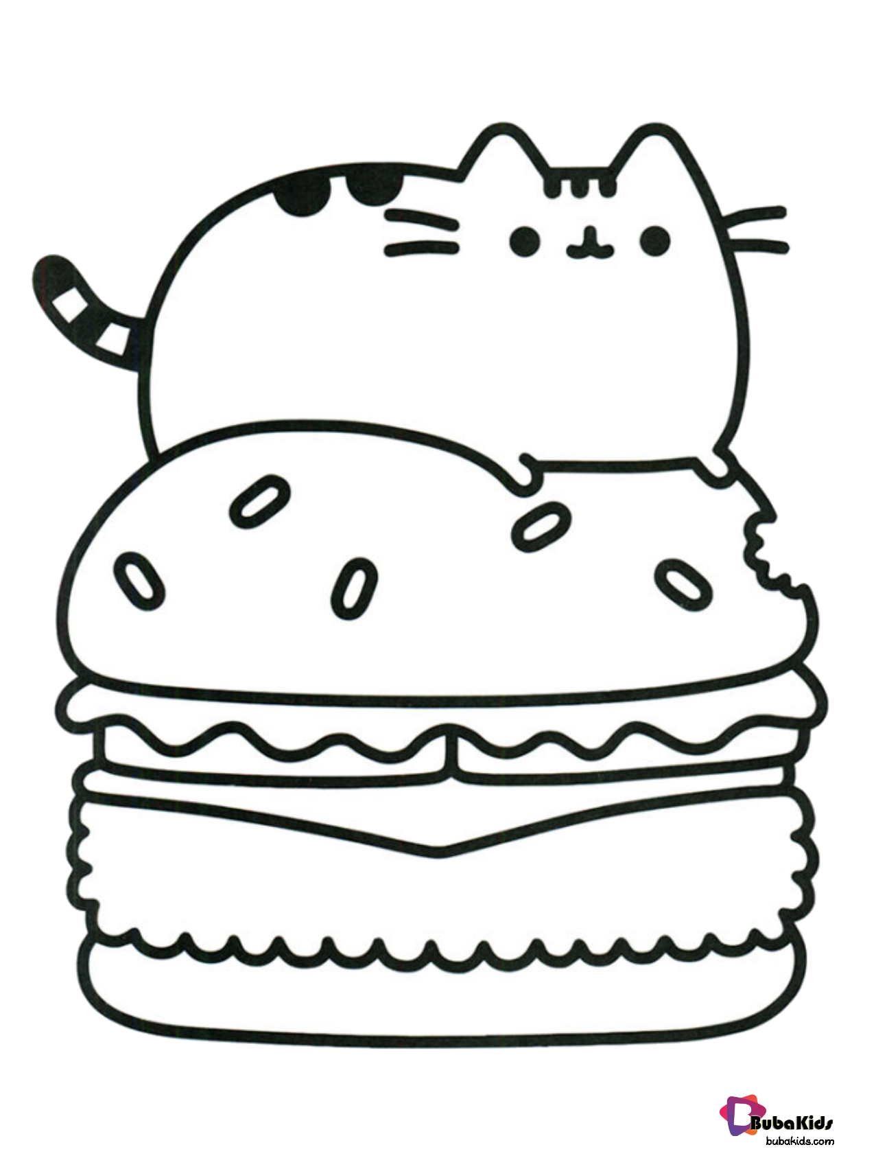 Pusheen Cat Coloring Page : pusheen, coloring, Pusheen, Eating, Burger, Coloring, Page., Collection, Cartoon, Pages, Te…, Pages,, Unicorn