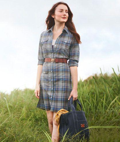 79995a5e79e LL Bean  signature  line cotton madras dress